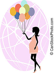 Silhouette of a fashionable pregnant woman - Vector...