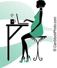 Silhouette of a fashionable pregnant woman, vector...