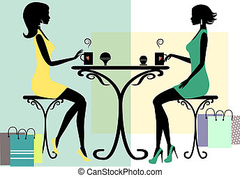 Silhouette of two fashionable shopping women, vector...