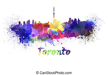 Toronto skyline in watercolor splatters with clipping path