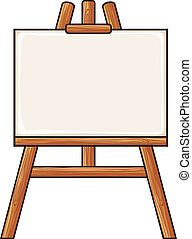 canvas on an easel, wooden easel with blank canvas