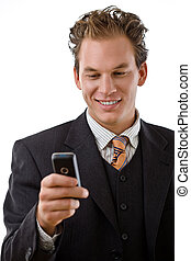 Businessman with mobile phone - Businessman writing text...