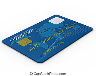 Credit card  - Blue credit card close up on white background