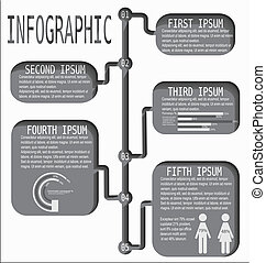 Time line info graphics - Illustration template of cut out...