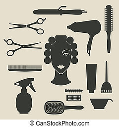 hairdresser icons set - vector illustration. eps 8