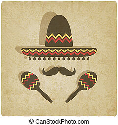 Mexican sombrero old background - vector illustration. eps...