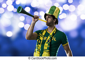 Brazilian Fan Celebrating, on a blue background.