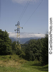 electric line - a big electric line in the french alps