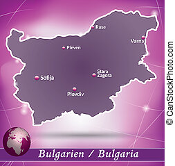 Map of Bulgaria with abstract background in violet