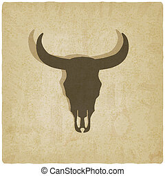 bulls skull old background - vector illustration eps 10