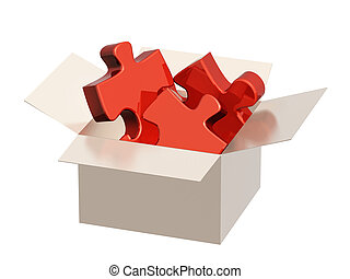 Parts of a puzzle in cardboard box