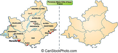 Map of Provence-Alpes-Cote d Azur with borders in pastel...