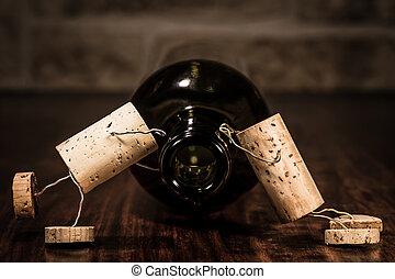 vino, corcho, figuras, concepto, Muchos, vino, Marcas,...