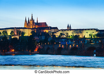 Prague hrad and Charles Bridge over the river