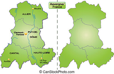 Map of auvergne with borders in green