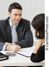 Businessman consulting - Happy young adviser businessman...