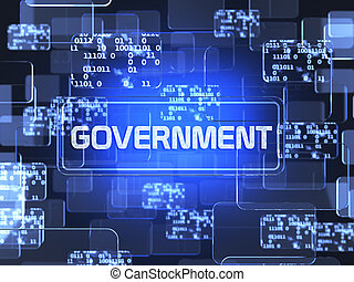 Government concept - Future technology blue touchscreen...