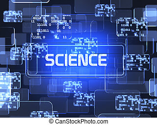 Science concept - Future technology blue touchscreen...
