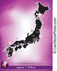 Map of Japan with abstract background in violet