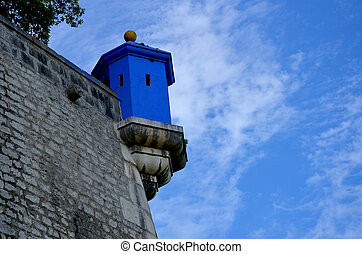 Blue embrasure in the Bastille Grenoble, France