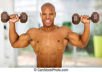african muscular man working out