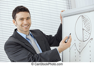 Business presentation - Young businessman doing business...