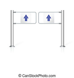 Illustration of turnstile - Steel turnstile with two blue...