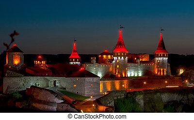 Castle with beautiful night illumination