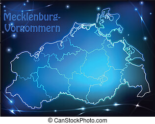 Map of Mecklenburg-Western Pomerania with borders with...
