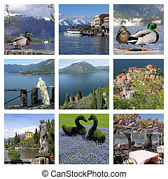 images with fantastic landscape of lake Como - collage ,...