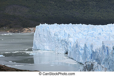Patagonian landscape with glacier, mountain and lake -...