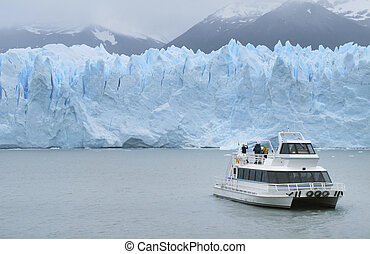Patagonian landscape with glacier and cruise Argentina