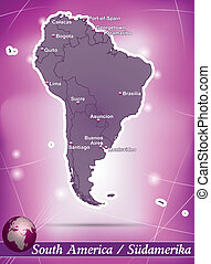 Map of South America with abstract background in violet