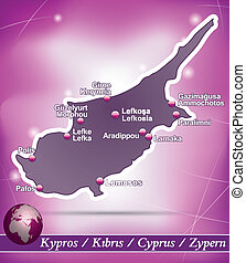 Map of Cyprus with abstract background in violet