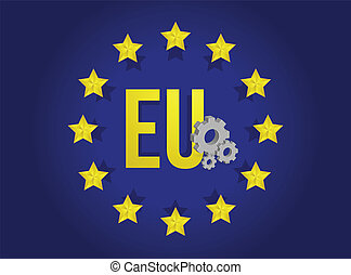 european union industrial flag illustration design...