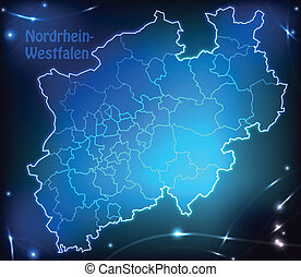 Map of North Rhine-Westphalia with borders with bright...
