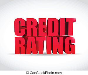 credit rating 3d text sign illustration design over a white...