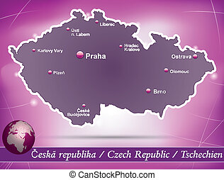 Map of Czech Republic with abstract background in violet