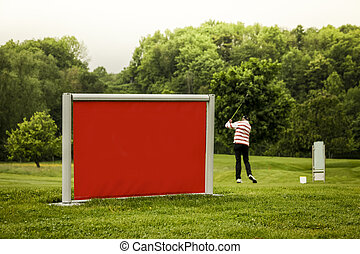 at the golf club - red sign with golfer hitting the ball in...