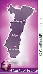 Map of Alsace with abstract background in violet