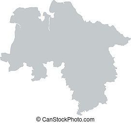 Map of Lower Saxony with borders in gray