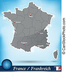 Map of France with borders in blue