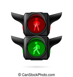 Pedestrian traffic light - Realistic pedestrian traffic...