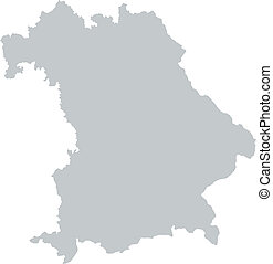Map of Bavaria with borders in gray