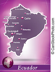 Map of ecuador with abstract background in violet