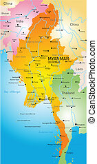 Myanmar - Vector map of Myanmar country