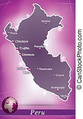 Map of Peru with abstract background in violet
