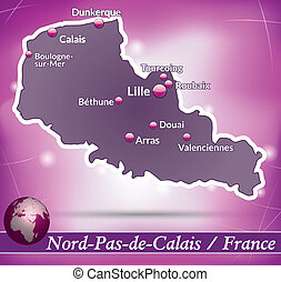 Map of North-pas-de-calais with abstract background in...