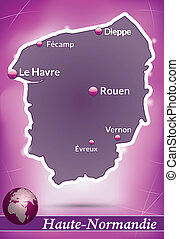 Map of Upper Normandy with abstract background in violet