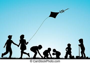 parque, crianças, tocando